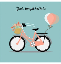 Wedding invitation card with bicycle and a basket vector