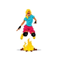 Jumping fire cartoon vector