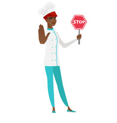 African-american chef cook holding stop road sign vector