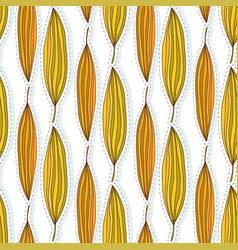 Autumn leaves seamless pattern ethnic fabric vector