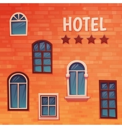 Background of wall with windows and hostel title vector image
