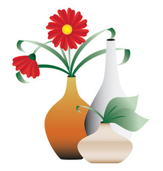 Blossoming flowers in vases vector