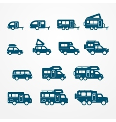 Camper icon set vector
