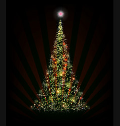 christmas green tree on a black background with vector image vector image