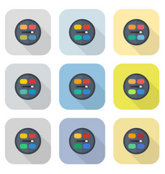 Circular eyeshadow palettes flat icon set vector