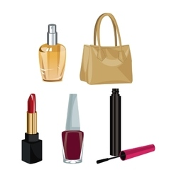 Collection makeup accessories fashion wo vector
