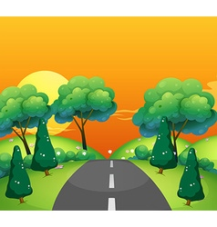 Countryside scene with road at sunset vector