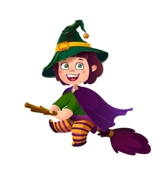 Cute brunette girl witch on the broom happy vector
