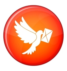 Dove carrying envelope icon flat style vector