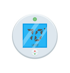 Electronic thermostat with a screen under floor vector
