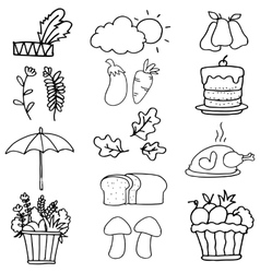 Element hand draw thanksgiving on doodles vector