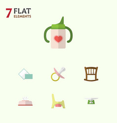 Flat baby set of toilet napkin nipple and other vector