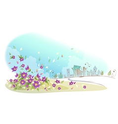 flowers near city vector image vector image