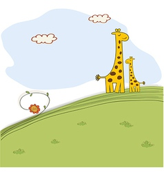 Giraffe and her baby in nature vector