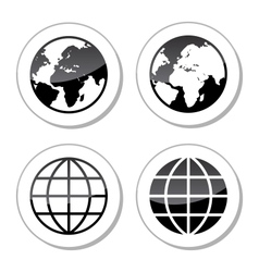 Globe Earth Icons as Labels vector image vector image