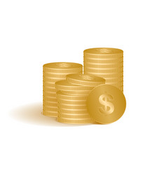 golden coins isolated on vector image vector image