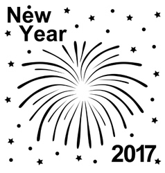 Happy New Year 2017 text and fireworks silhouette vector image vector image