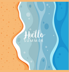 Hello summer with ocean view vector