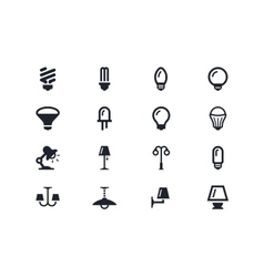 Lightning and light bulbs icons Lyra series vector image vector image