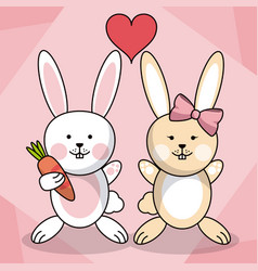 Loving couple rabbit animal baby heart decoration vector