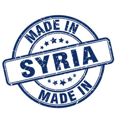 made in syria blue grunge round stamp vector image vector image