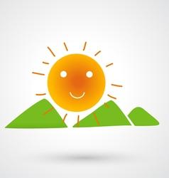 Mountains on the sun icon vector