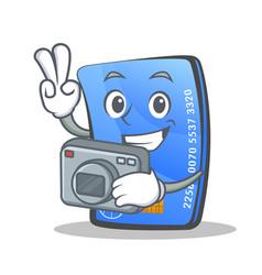 Photography credit card character cartoon vector