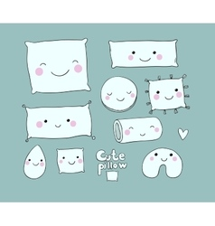 Set of cute cartoon pillows vector image
