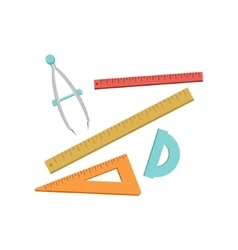Set Of Geometry Rulers And Compasses vector image