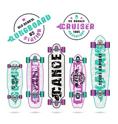 Set of prints on longboard in camping style vector