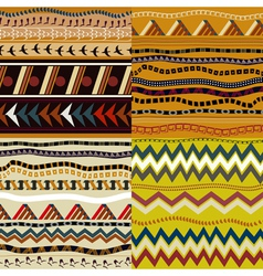 Set of seamless patterns in African style vector image vector image