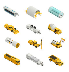 Tunnel construction isometric icons vector