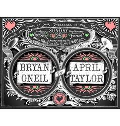 Vintage Wedding Invite on Blackboard vector image