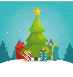 Green tree christmas gifts boxes landscape vector