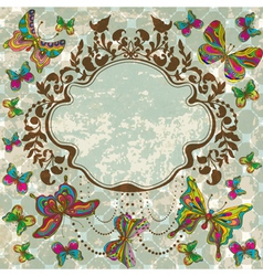 Vintage floral ornament with butterflies vector