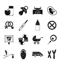 Pregnancy symbols icons set simple style vector