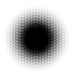 Abstract halftone circle of dots in wavy vector