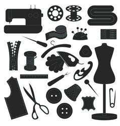 Dark sewing icons set vector