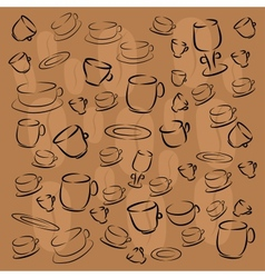 Cup saucer plate of coffee beans vector