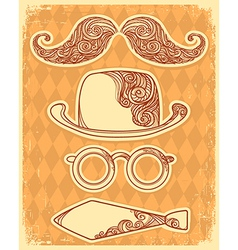 Retro party objects with moustaches vintage on old vector