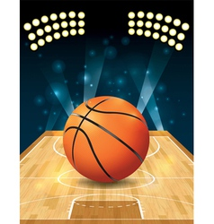 Basketball on hardwood court vector image