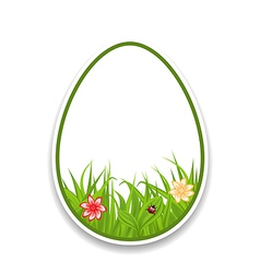 Easter paper sticker eggs with green grass and vector
