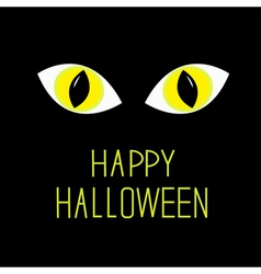 Cat eyes in dark night happy halloween card vector