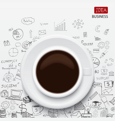 Coffee cup and business strategy vector