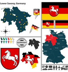 Map of Lower Saxony vector image