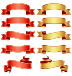red and golden banners set vector image