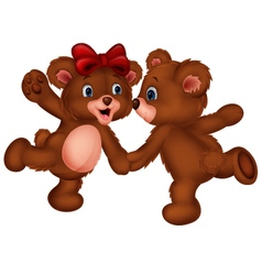 Cute bear couple dancing vector image
