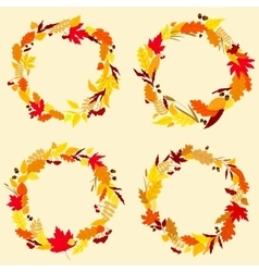 Colorful wreaths of autumn leaves vector
