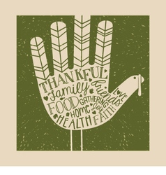 Thanksgiving card design with hand print turkey vector