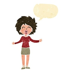 Cartoon loud woman with speech bubble vector